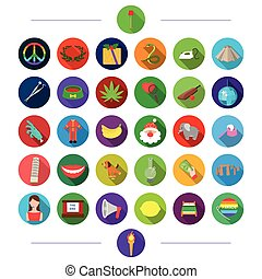 fruit, production, medicine and other web icon in flat style. hobby, profession, vegetables, icons in set collection.