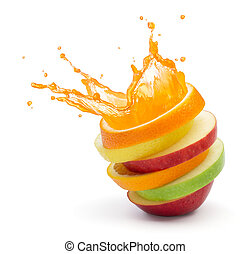 fruit punch - various type of fruit slices stacked with...
