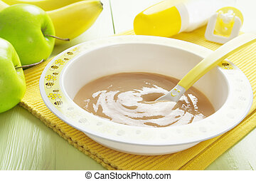 Fruit puree in a bowl, baby food