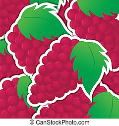 Fruit - Red grape sticker background/card in vector format.