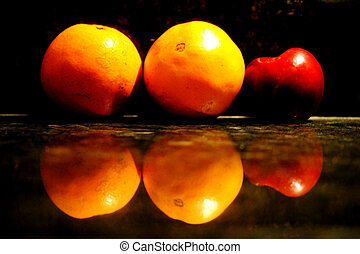 Fruit Reflected in Marble
