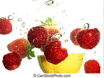 Fruit refreshing - Splash of fresh fruit to water with...