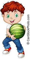 fruit rouge, debout, pastèque, cheveux, tenue, position, mignon, garçon