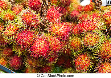 fruit, rrambutan., tropische