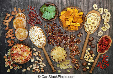 fruit, séché, collection, écrou