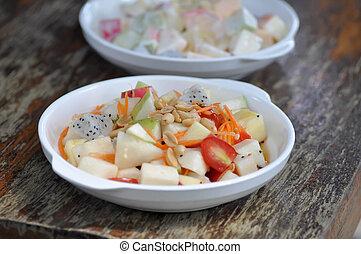 fruit salad, apple and dragon fruit salad