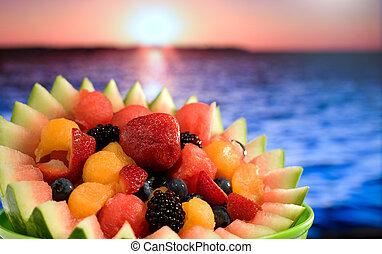 Fruit Salad at Ocean - A tropical fruit salad at ocean beach...