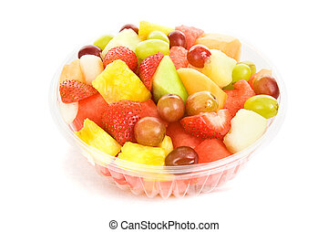 Bowl of colorful, delicious fruit salad isolated on white.