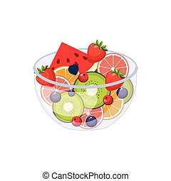 Fruit Salad Breakfast Food Element Isolated Icon