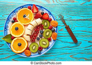 Fruit salad breakfast orange banana kiwi berries ow...