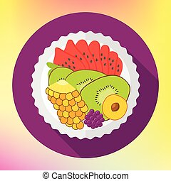 Fruit salad, flat design vector