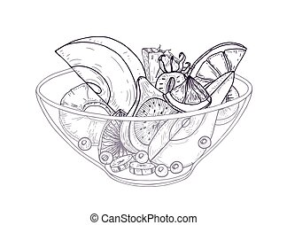 Fruit salad in bowl hand drawn with black contour lines on white background. Delicious meal made of fresh chopped oranges, pineapples, pears, bananas and berries. Realistic vector illustration.
