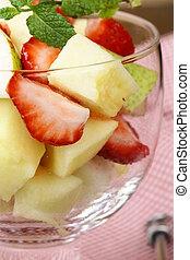 fruit salad in glass goblets