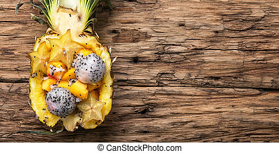 Fruit salad in pineapple