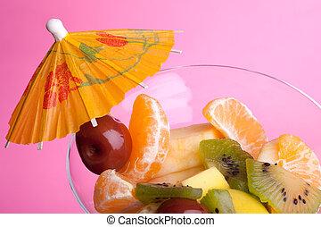 Fruit Salad On Pink