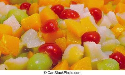 Fruit Salad Rotating Closeup
