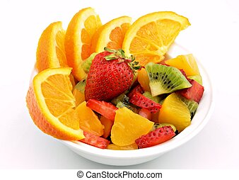 Fruit salad served in a bowl surrounded by white background