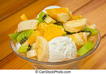 Fruit salad with icecream