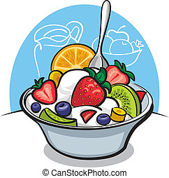 fruit salad with yogurt and strawberry