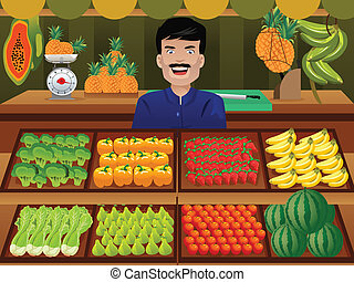Fruit seller in a farmer market - A vector illustration of...