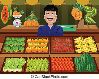 Fruit seller in a farmer market - A vector illustration of ...