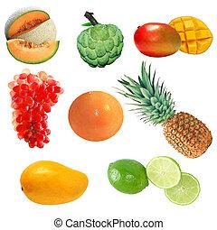 Fruit Set 1 - Set of fruits isolated on white background