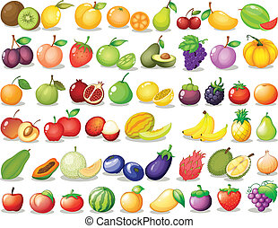 Fruit set - Illustration of a set of fruit