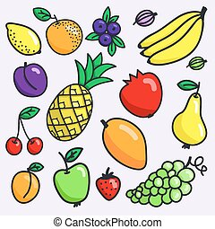 Fruit set. Hand-drawn different cartoon fruits. Doodle drawing.