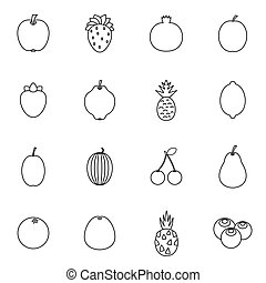 fruit, set, iconen