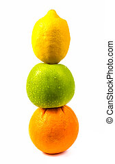 Fruit set in a row.