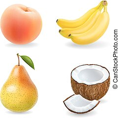 Fruit set isolated realistic 3d illustration. Banana, pear, coconut, apricot, peach