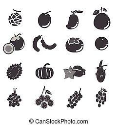 fruit, set, pictogram