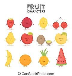 Fruit set. Strawberry, pomegranate, lemon, cherry, pear, apple, kiwi, banana, pineapple, orange, watermelon.