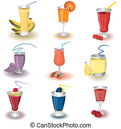 Fruit Shake Icons - Vector illustration of colored different...