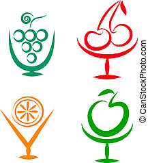 Fruit shakes and cocktails icons -2