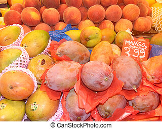 Fruit shop at La Boqueria market in Barcelona, Spain