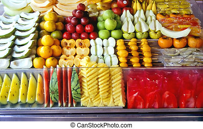 fruit-shop - fruit-stall at a fruit-market