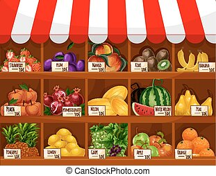 Fruit shop, store or market counter showcase stand with fresh farm harvest of fruits and berries strawberry, plum, tropical mango, kiwi and exotic banana and pineapple, peach, pomegranate, melon and watermelon, pear and grape, apple and orange