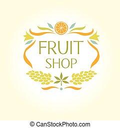 Fruit shop. Vintage logo.