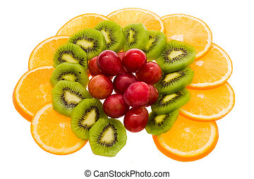 fruit slices, isolated