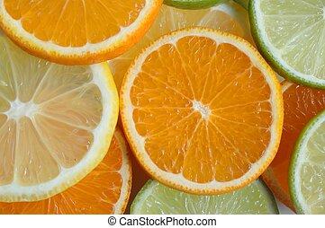 Fruit Slices - Mandarin, lemon and lime slices.