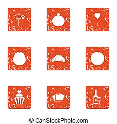 Fruit smoothie icons set, grunge style