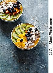 Fruit smoothie in bowl.