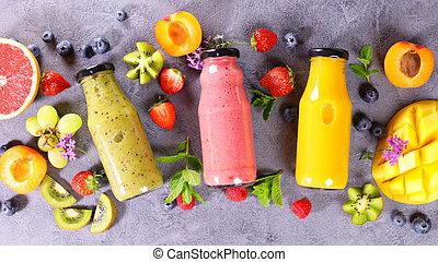 fruit smoothie with fresh fruits