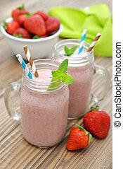 fruit, smoothies, à, fraise