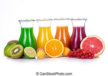 fruit, smoothies, dans, différent, couleurs, à, fruits