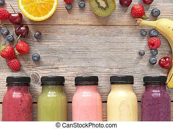 fruit, smoothies, fond, à, espace