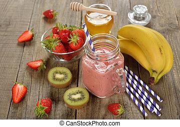 Fruit smoothies in jar