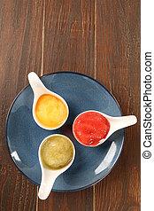 fruit sorbet on a wood background