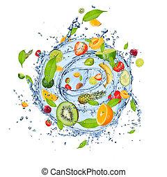 Fruit splash - Fruit mix in water splash, isolated on white...